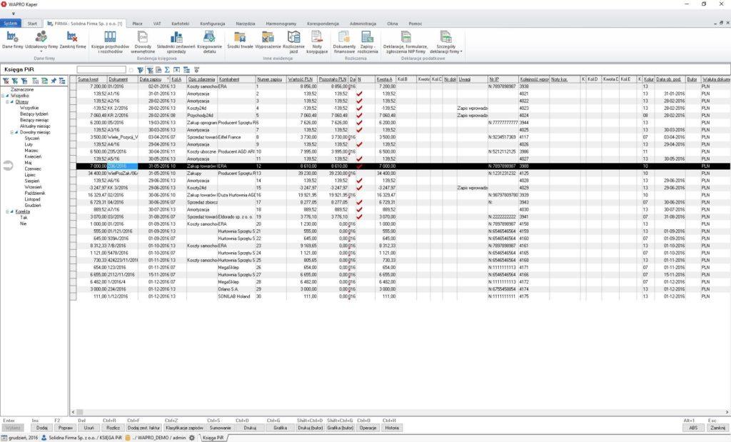 Księga przychodów i rozchodów - przeglądanie zapisów