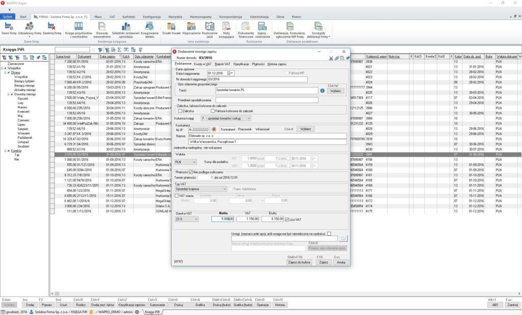 Wprowadzanie danych do KPiR