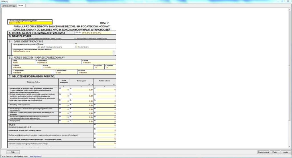 Formularz obliczeniowy zaliczki na podatek dochodowy od wynagrodzenia