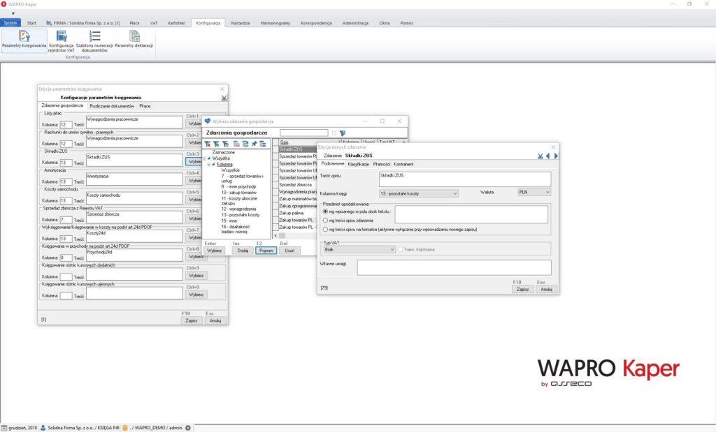 Okno konfiguracji parametrów księgowania dla wybranych zdarzeń gospodarczych