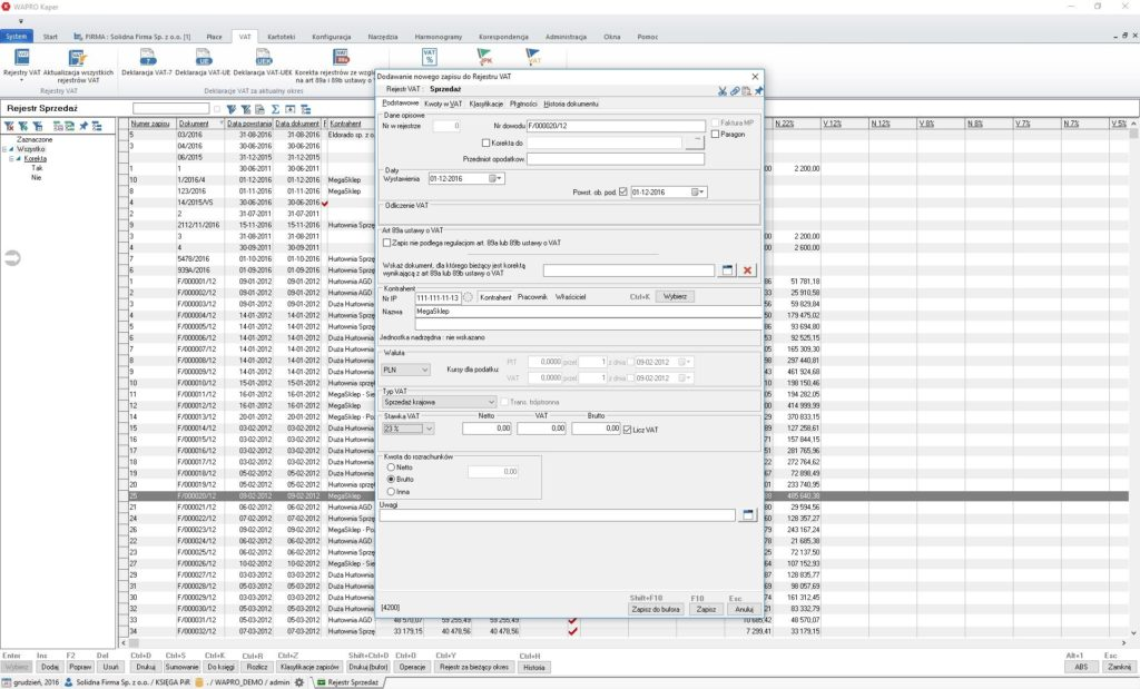 Dodawanie zapisów do rejestru VAT