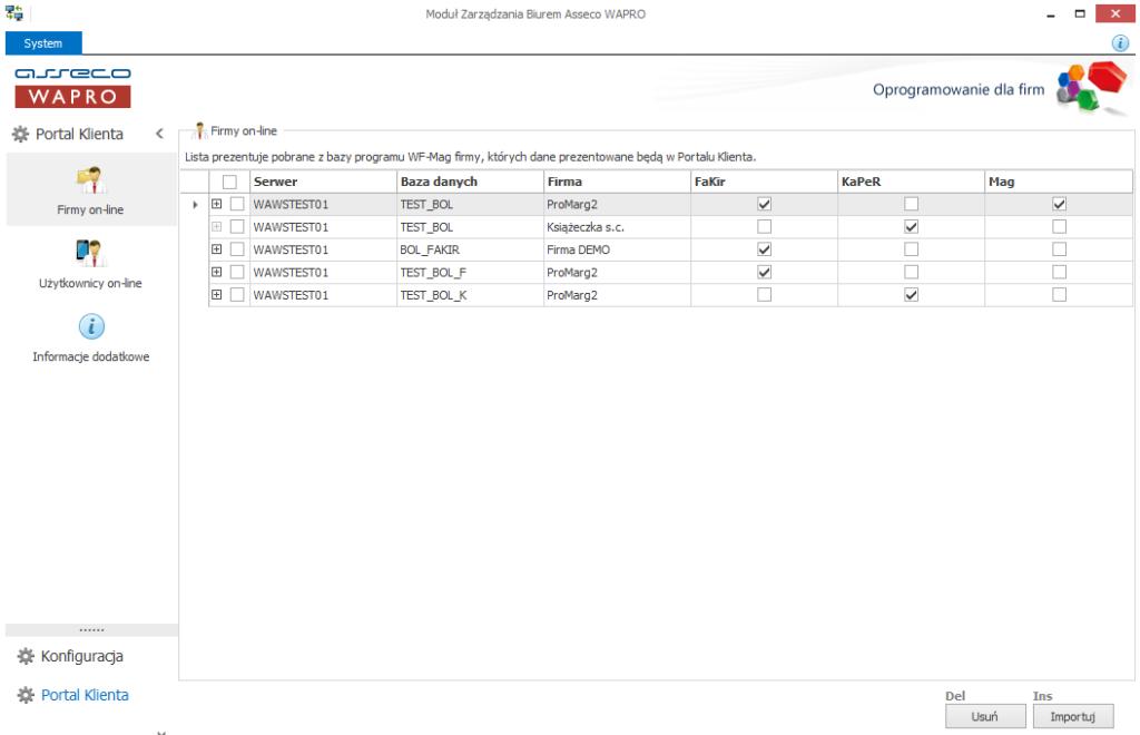 Lista firm online zdefiniowanych do portalu klienta