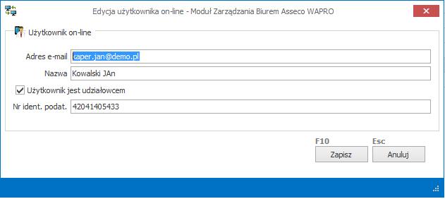 Edycja użytkownika w Module Zarządzania Biurem